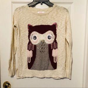 Justice owl cream sweater